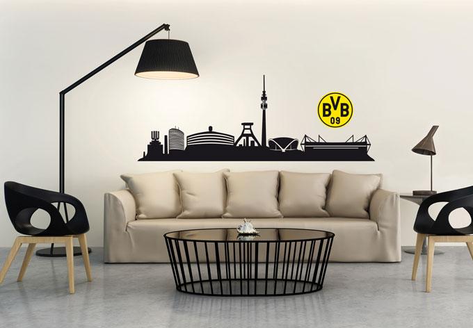 wandtattoo bvb dortmund skyline echte liebe wall. Black Bedroom Furniture Sets. Home Design Ideas