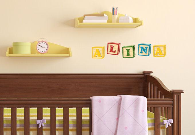 sticker mural pr nom cubes de wall. Black Bedroom Furniture Sets. Home Design Ideas