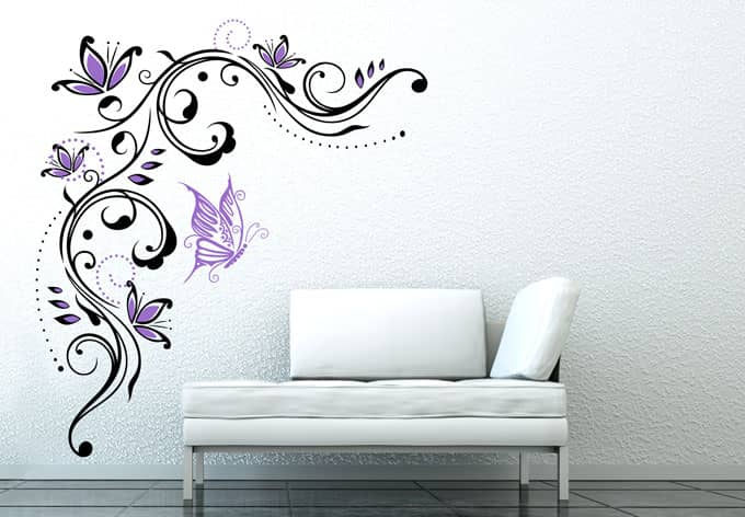 wandtattoo blumenrake 5 von k l wall art zweifarbig ausw hlbar wall. Black Bedroom Furniture Sets. Home Design Ideas