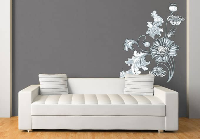 wandtattoo blumenranke 2 grau von k l wall art wall. Black Bedroom Furniture Sets. Home Design Ideas
