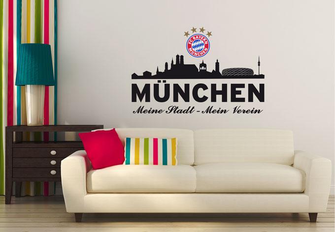 wandtattoo fc bayern skyline mein verein mit logo wall. Black Bedroom Furniture Sets. Home Design Ideas