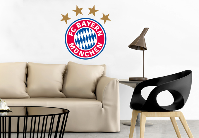 fc bayern m nchen logo originales fcb wandtattoo wall. Black Bedroom Furniture Sets. Home Design Ideas