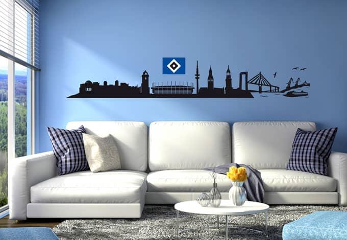 wandtattoo hsv skyline originale deko vom hsv wall. Black Bedroom Furniture Sets. Home Design Ideas