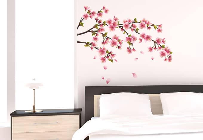 sticker mural branche de cerisier wall. Black Bedroom Furniture Sets. Home Design Ideas
