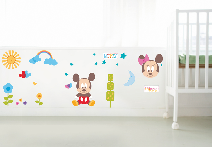 Wandtattoo Mickey Mouse Minnie Mouse Donald Duck Kinderzimmer 2 ...