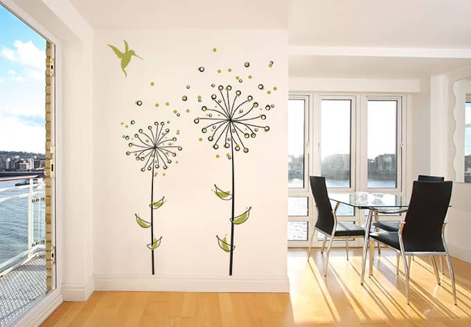 dandelions light green wall sticker wall art com lime green wall decals amp wall stickers zazzle