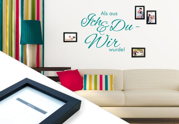 wandtattoo als aus ich und du inkl 4 bilderrahmen. Black Bedroom Furniture Sets. Home Design Ideas