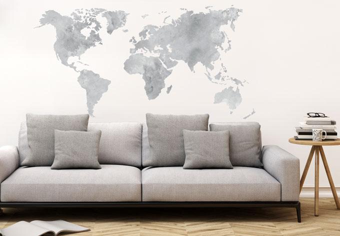 wandtattoo aquarell weltkarte grau wall. Black Bedroom Furniture Sets. Home Design Ideas