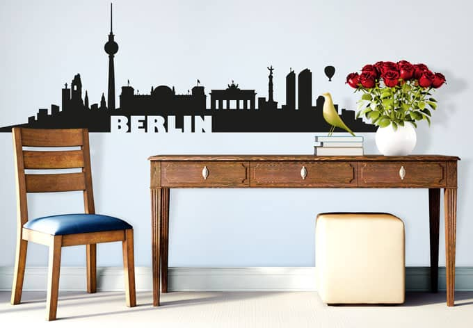 wandtattoo berliner skyline berlin als wandsticker wall. Black Bedroom Furniture Sets. Home Design Ideas