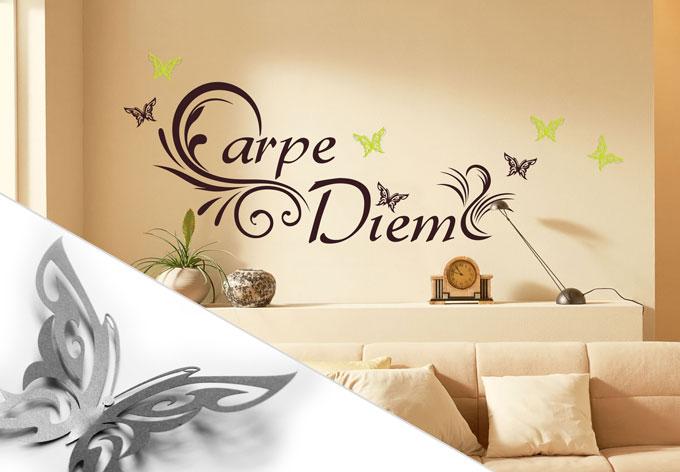 wandtattoo carpe diem 3 3d deko schmetterlinge mit tesa. Black Bedroom Furniture Sets. Home Design Ideas