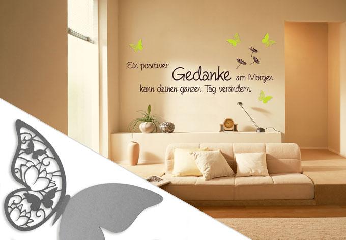 wandtattoo ein positiver gedanke 3d deko schmetterlinge 2 mit tesa tack 4 teilig wall. Black Bedroom Furniture Sets. Home Design Ideas