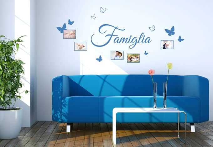 wandtattoo famiglia mit platz f r fotos wall. Black Bedroom Furniture Sets. Home Design Ideas