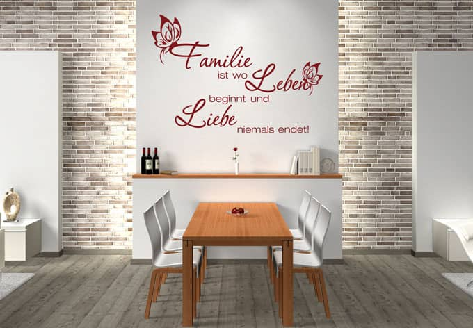 wandtttoo familie ist wo leben beginnt wall. Black Bedroom Furniture Sets. Home Design Ideas
