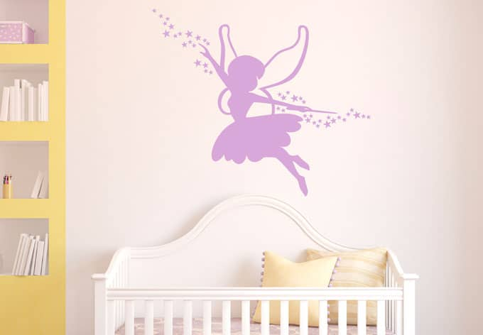 magic fairy wall sticker wall art com fairy with a magical wand amp stars wall decals