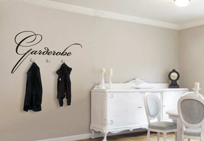 Wandtattoo garderobe 1 3 haken wall - Wandtattoo garderobe ...