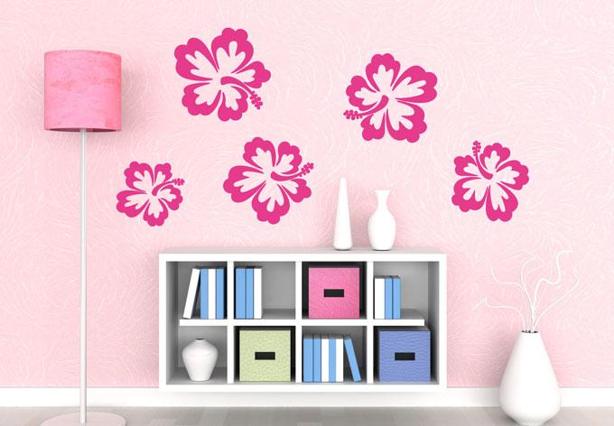 Muurstickers Slaapkamer Bloemen : muurstickers hawaii bloemen set van ...