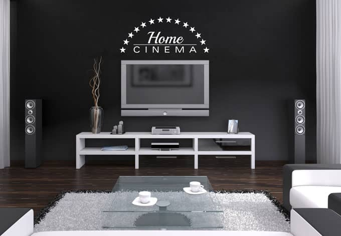 sticker mural home cinema wall. Black Bedroom Furniture Sets. Home Design Ideas