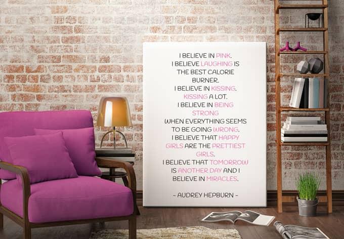 wandtattoo i believe in pink audrey hepburn wall. Black Bedroom Furniture Sets. Home Design Ideas