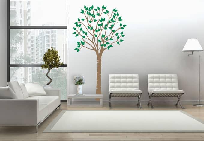 wandtattoo schlanker baum 2 farbig wall. Black Bedroom Furniture Sets. Home Design Ideas
