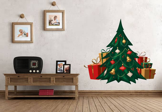 wandtattoo weihnachtsbaum vintage wall. Black Bedroom Furniture Sets. Home Design Ideas