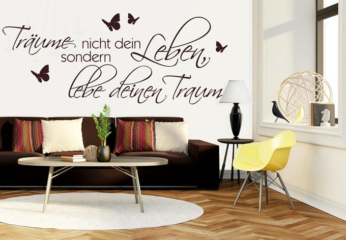 wandtattoo tr ume nicht dein leben sondern lebe deinen traum wall. Black Bedroom Furniture Sets. Home Design Ideas