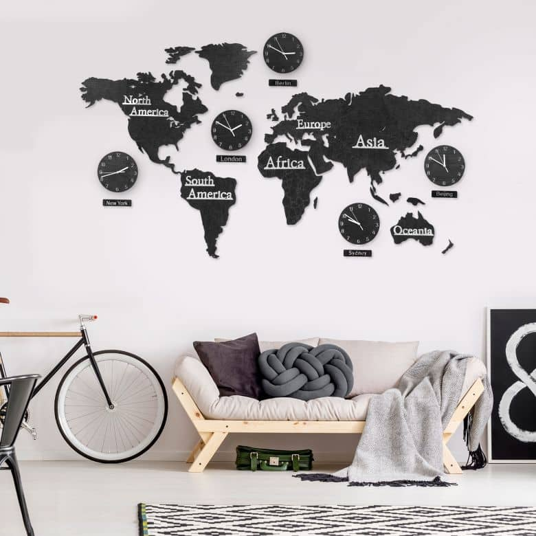 3D Wooden World Map with Clocks - black 180x110 cm