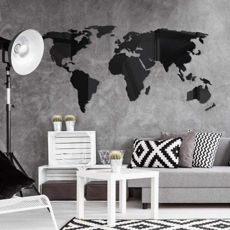3D World Map on Acrylic Glass