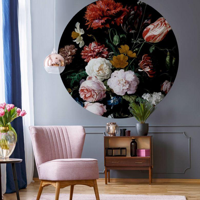 Fototapete Heem - Stillleben mit Blumen in einer Glasvase - Rund
