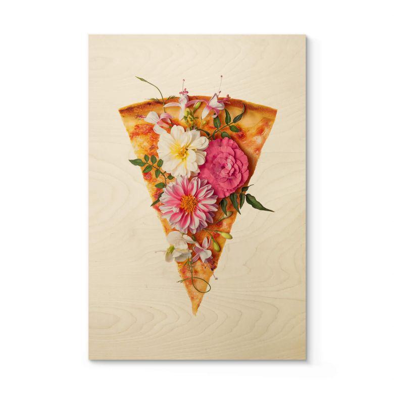 Stampa su legno Fuentes - Pizza ai fiori