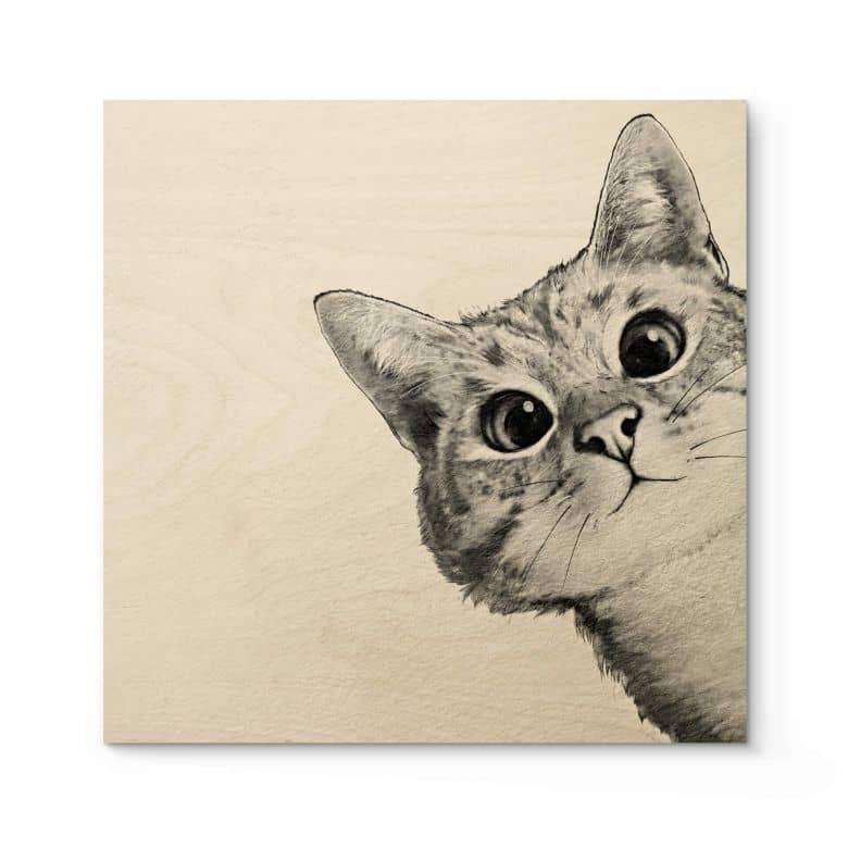 Houten Poster Graves - Sneaky Cat