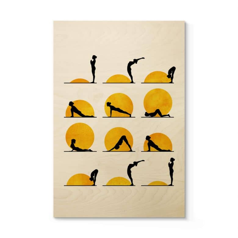 Holzposter Kubistika - Yoga Der Sonnengruß