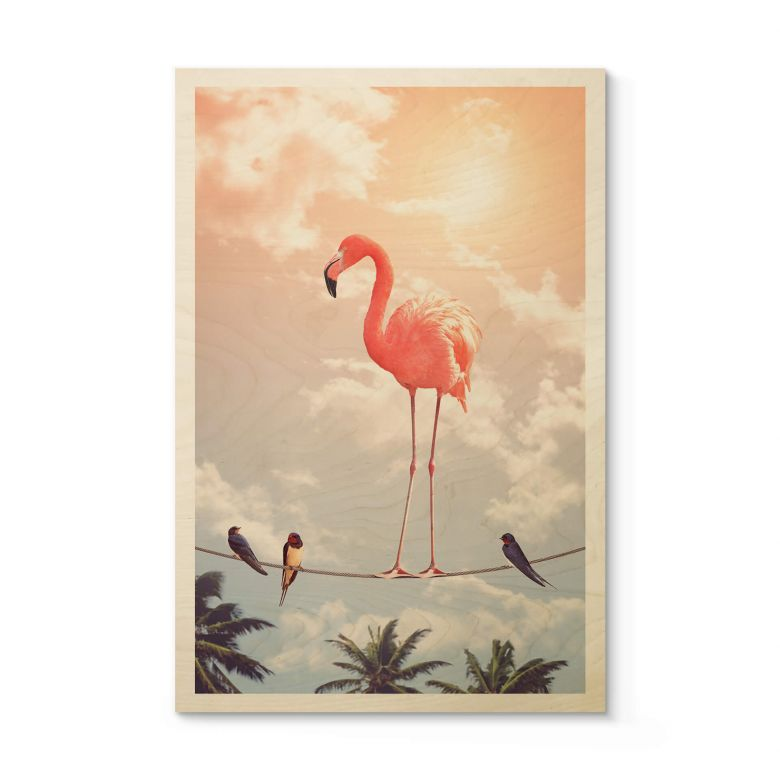 Holzposter Loose - Flamingo and Friends