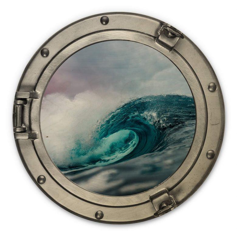Holzbild 3D Optik - Das tosende Meer - Rund