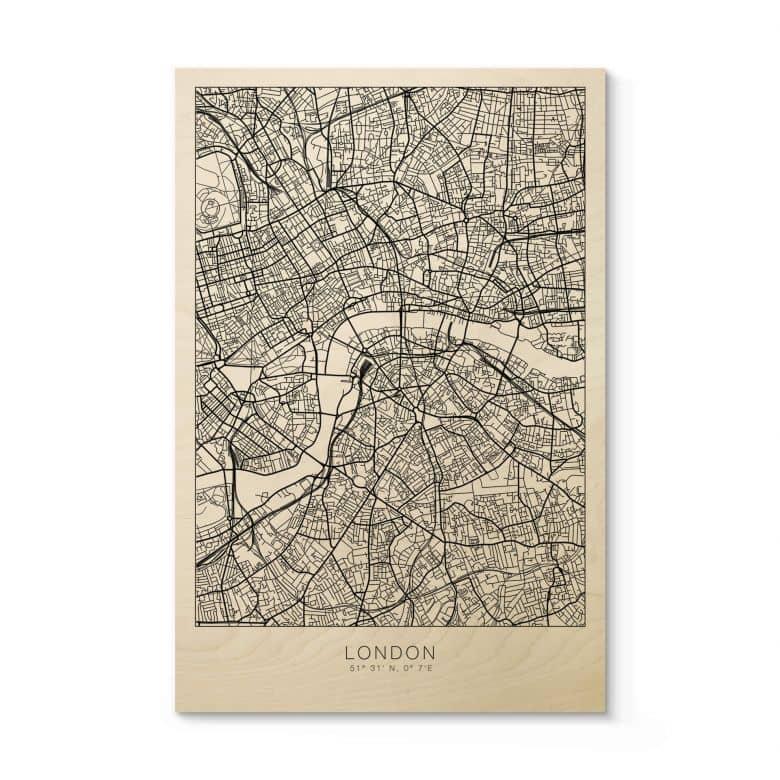 Holzposter Stadtplan London
