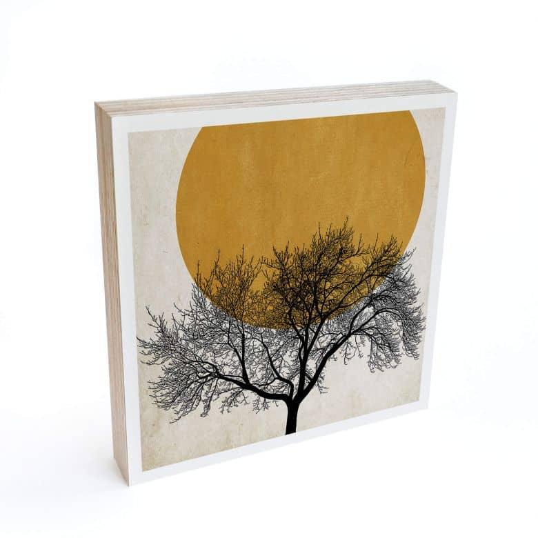 Holzbild zum Hinstellen - Kubistika - Wintermorgen - 15x15 cm