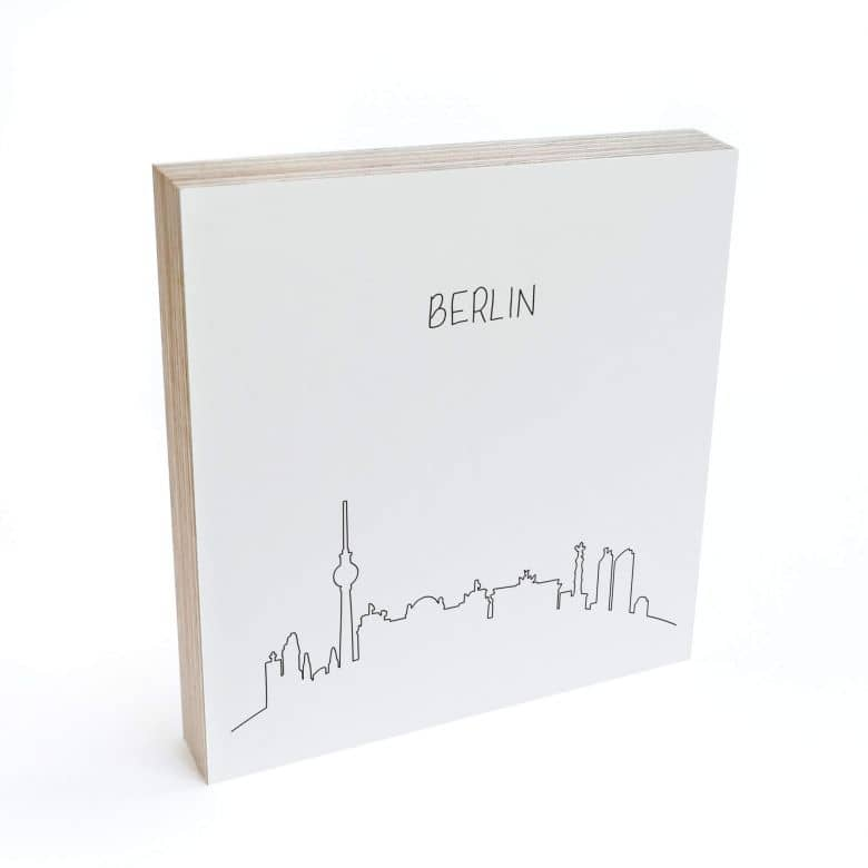 Holzbild zum Hinstellen - Skyline Berlin Outline - 15x15 cm