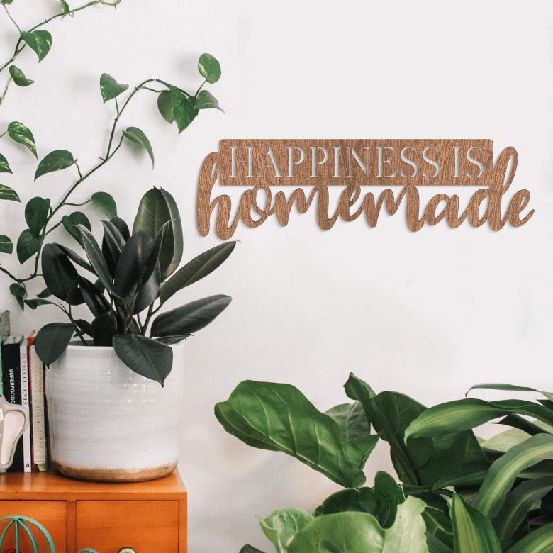 Décoration en bois - Happiness is homemade - Placage d'acajou