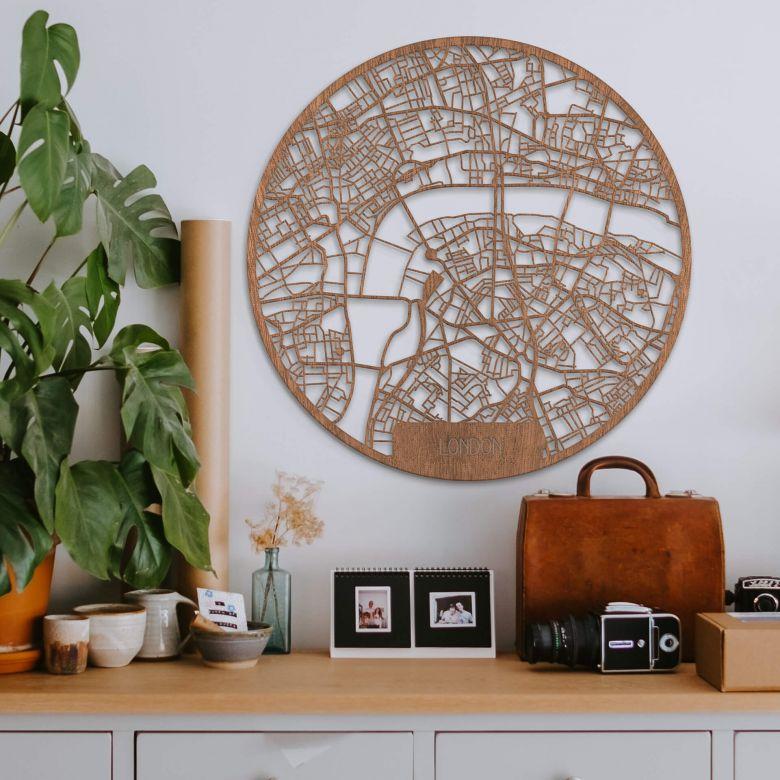 Holzkunst Mahagoni Stadtplan London - Rund