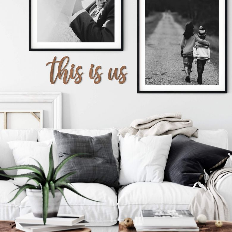 Décoration en bois -This is us - Placage d'acajou