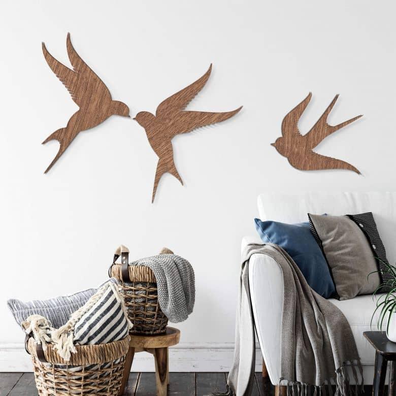 Décoration en bois - Oiseaux (3 pièces) - Placage d'acajou