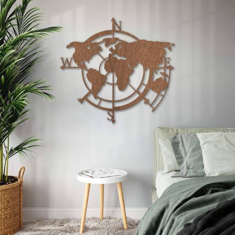 Houten Wanddecoratie Mahoniefineer Wereldkaart Windrichtingen