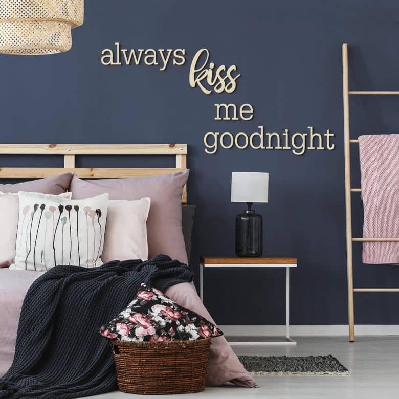 Lettres décoratives en placage bois de peuplier always kiss me goodnight