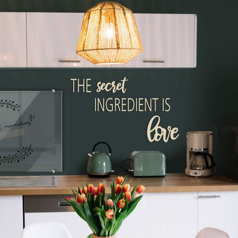 Holzbuchstaben Pappel The secret ingredient is love