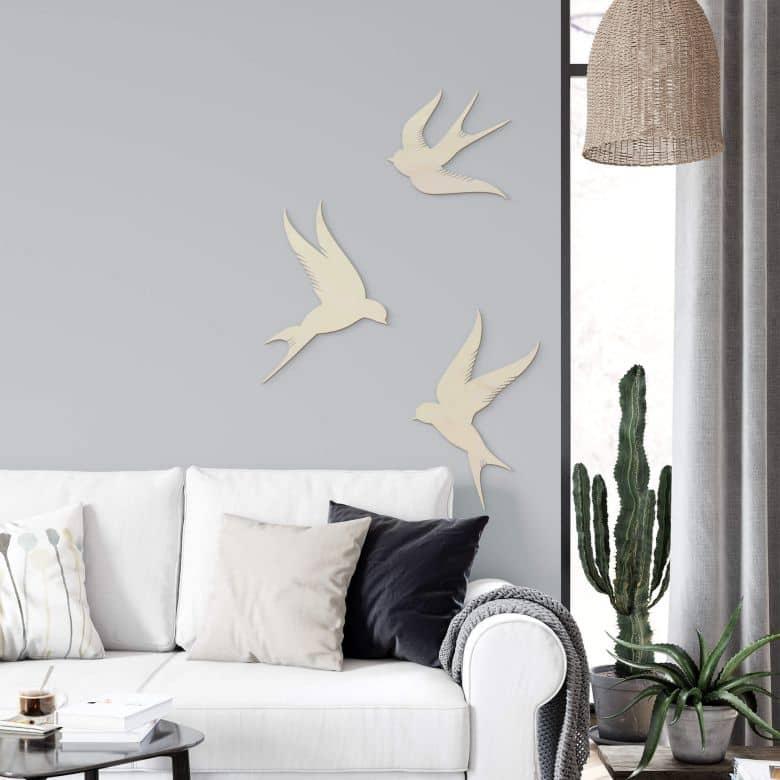 Holzdeko Pappel Vögel (3-teilig)
