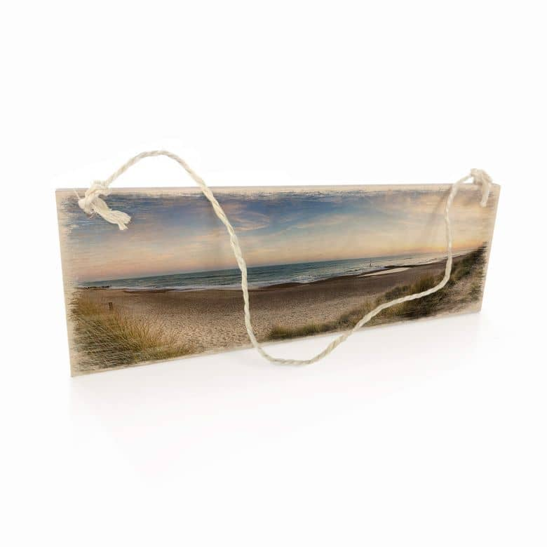Holzschild Strandpanorama