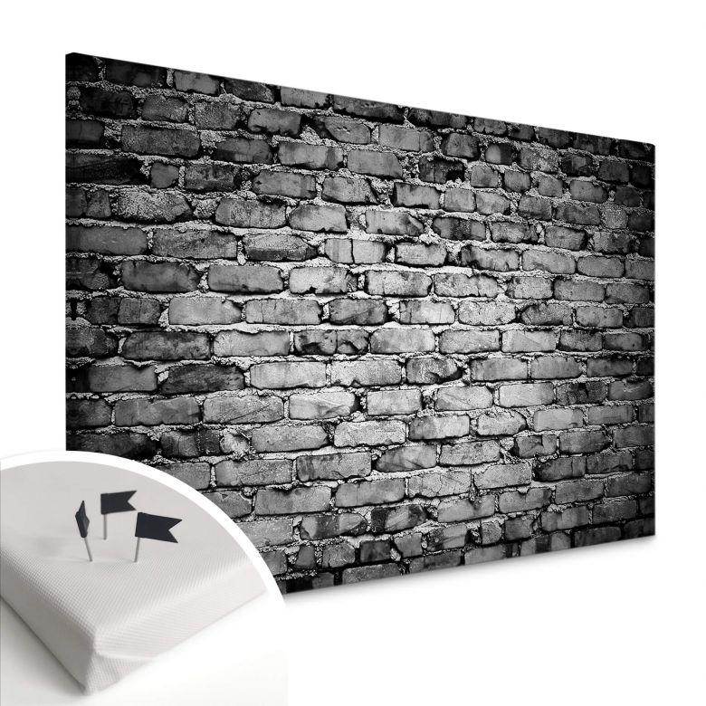 Leinwandbild mit Korkrückwand - Mauer 04 sw