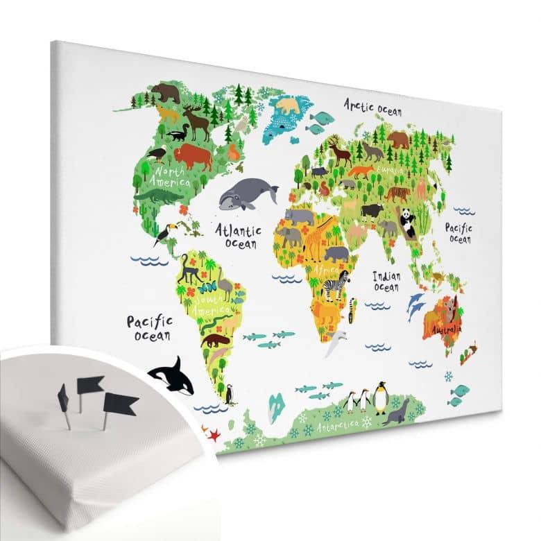 Canvas Prikbord - Dieren Wereldkaart