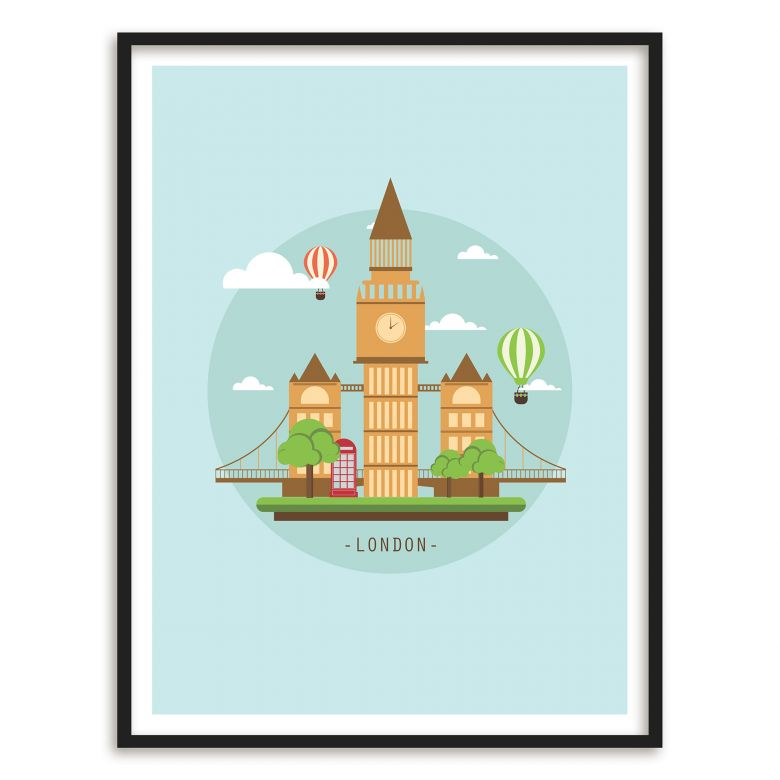 Poster mit Bilderrahmen - Visit London | wall-art.de