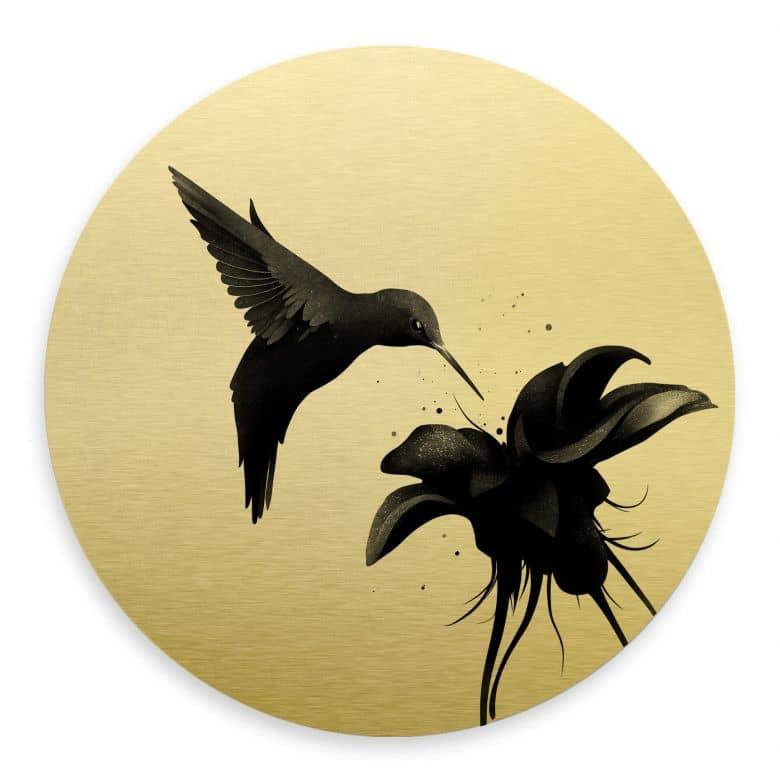Alu-Dibond round gold effect - Ireland - Hummingbird