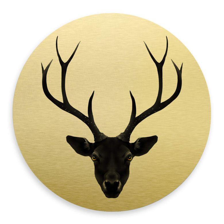 Alu-Dibond mit Goldeffekt Ireland - The Black Deer - Rund